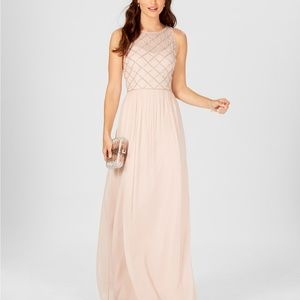 Adrianna Papell Beaded A-Line Gown Blush